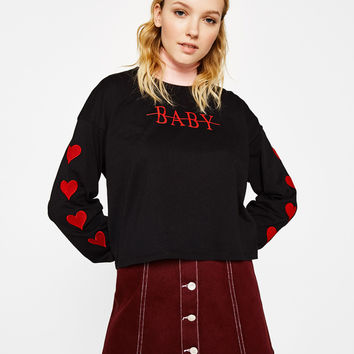 Sweatshirt with embroidery on the sleeves - Tees - Bershka United States