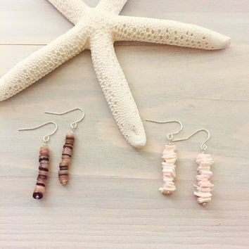 Shell Earrings - Pale Pink Earrings - Beach Earrings - Hawaiian Earrings - Puka Shell Jewelry - Seashell Earrings - Ocean Earrings