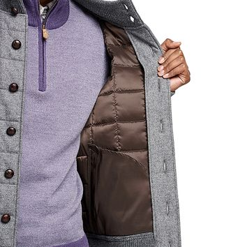 Men's Grey Lambswool Quilted Sweater Jacket | Brooks Brothers