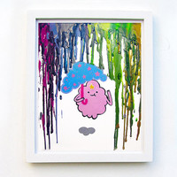 Adventure Time Inspired Art Print  - Lumpy Space Princess - LSP -  Crayon Art - Melted