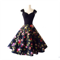 The Sofia Rose, Black Floral ROCKABILLY Swing Dress, Capped Sleeve 1950s Style, Casual Wedding,  Pinup Party Dress