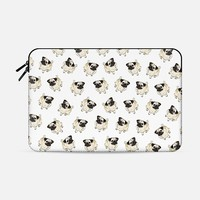 "PUG PATTERN Macbook Pro Retina 15"" sleeve by Katie Reed 