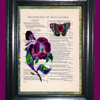 Burgundy Pansy with Christmas Butterfly Illustration Art Beautiful Upcycled Vintage Dictionary Page Book Print