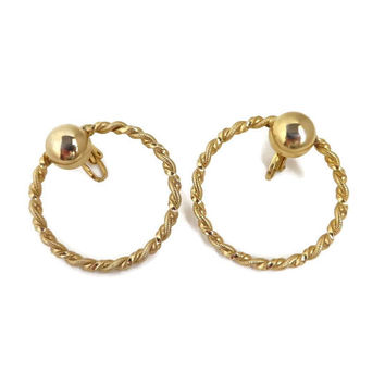 Vintage Twisted Hoop Earrings, Gold Tone Large Hoop Clip-ons