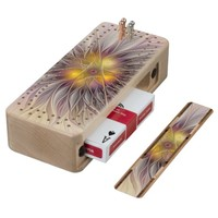 Luminous Colorful Flower, Abstract Modern Fractal Wood Cribbage Board