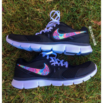 Lilly Pulitzer Inspired Hand Painted Nike Flex Experience RN 3