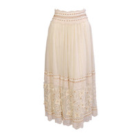 Oscar de la Renta Beaded & Pin Tucked Skirt