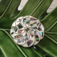 Alpaca Abalone Flower pendant brooch pin MOP mother of pearl FLORAL silver nickel green bridal jewelry vintage signed Mexico gift white