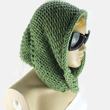 Chunky Sage Green Infinity Scarf , Hand knitted Neckwarmer, Seamless Knitted Infinity scarf, Womens accessory, Hoody Scarf