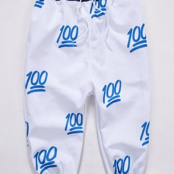 Blue 100 Emoji Joggers 3d Print Cropped Sweatpants