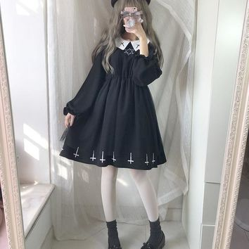 2018 Japanese Soft Sister Preppy Style Harajuku Dark Girl Black Dress JK Uniform Embroidery With Peterpan Collar Women Dress
