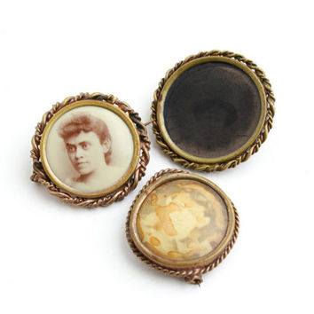 Antique Picture Pin Lot -  3 Round Gold Filled Victorian Mourning Photographic Jewelry Brooch Set / Photographic Memories
