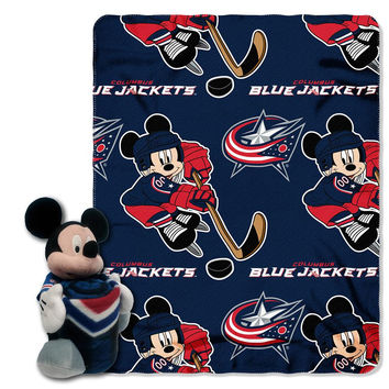 Columbus Blue Jackets NHL Mickey Mouse with Throw Combo