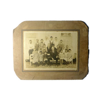 1921 Colony School Photograph, Black and White Sepia Toned Historical Photograph, Country Schoolhouse Class