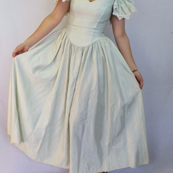 93dc6d1eed6 Vintage 80s San Martin Princess Ball Gown Prom Dress Bridesmaid Little Bo  Beep Southern Belle Pale