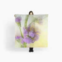Oversized Square Scarf with Soft Blooming Rose, Pink, Yellow and Green