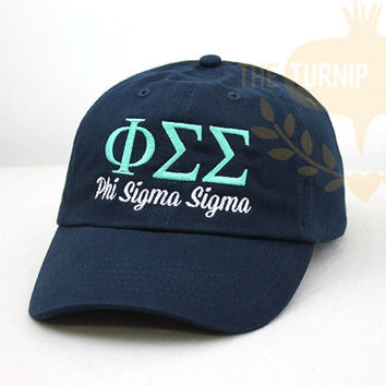 Phi Sigma Sigma Sorority Baseball Cap - Custom Color Hat and Embroidery.