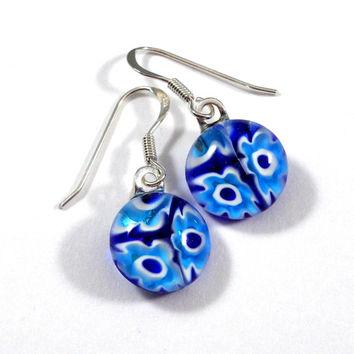 Blue and White Floral Dangle Earrings, Fused Glass, Sterling Silver Hooks