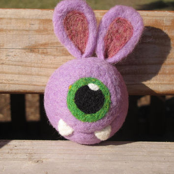 Easter Bunny Alien/One Eye Monster Needle Felted Rattle Ball - MADE TO ORDER
