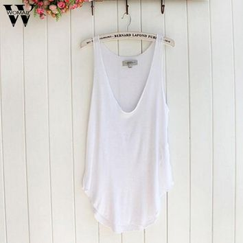 Womail 2017 Newly Stylish Fashion Solid Summer Woman Lady Sleeveless V-Neck Candy Vest Loose Tank Tops T-shirt Femme 17Jun 1