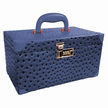 Diedre Navy Large Ostrich Texture Leather Jewelry Trunk Available in Navy/Red