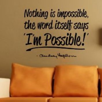 Audrey Hepburn I'm Possible Wall Decal Decor Quote...Large Nice