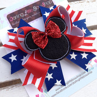 Miss Mouse Bow - Red, White and Blue Miss Mouse Bow - Memorial Day, 4th of July, Military -- Patriotic Bow