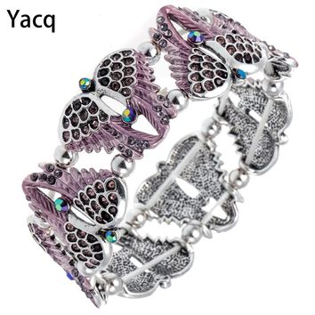 YACQ Angel Wings Stretch Bracelet Bangle Women Biker Crystal Punk Jewelry Gifts for Her Wife Mom Girls Guardian Dropshipping D10