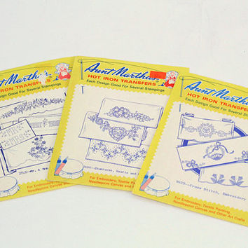 Aunt Martha's Hot Iron Transfers 3 Packages | Floral Motifs , Mr & Mrs , Hearts , Shamrocks , Cross Stitches | #3622 #3696 #3745