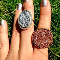 Druzy Adjustable Ring, Silver Druzy Ring, Copper Druzy Ring, Large Cocktail Ring, Silver Quartz Ring, Statement Ring, Drusy Stone Ring