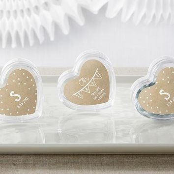 Heart Favor Container - Rustic Charm Baby Shower (Set of 12) (Available Personalized)