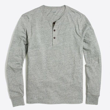 Long-sleeve heathered cotton henley