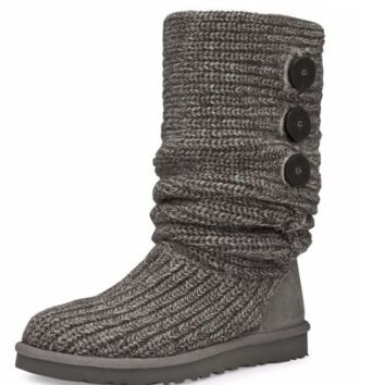 """UGG"" Women Fashion Weave Wool Snow Boots Grey"