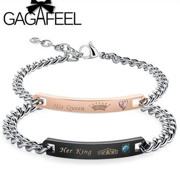 GAGAFEEL New Customized Couple Bracelets Her King His Queen Personalized Engraved Bracelet Bangle For Men Women Drop Shipping
