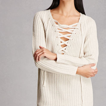 Woven Heart Lace-Up Sweater