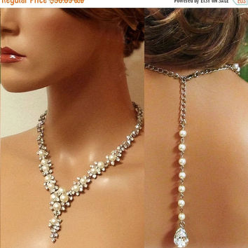 Wedding jewelry, Bridal necklace earrings , Bridal backdrop necklace, rhinestone pearl bridal statement, bridesmaid jewelry set, Ballroom
