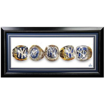 New York Yankees 1996-2009 5X World Series Rings-Painted Graphic 12x30 Framed Photo