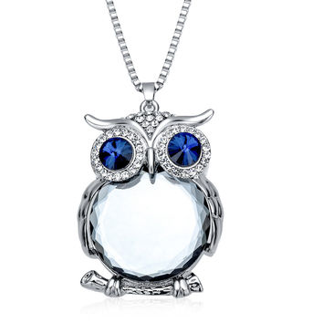 Gift Shiny Jewelry New Arrival Summer Stylish Owl Gemstone Necklace [6573123143]