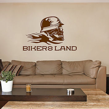 kik288 Wall Decal Sticker Room Decor Wall skull helmet motorcycle riders  living room bedroom biker club