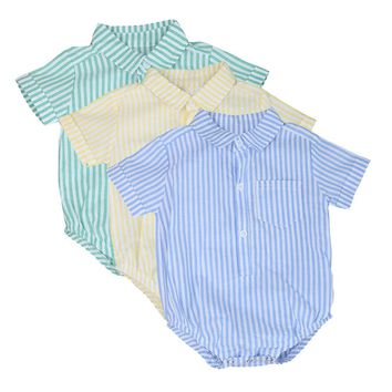 6-24M Boy Striped Button Up Shirt/Onsie