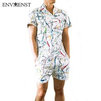 Envmenst 2017 Summer Style Party Overalls Short Sleeve Men's Beach Rompers Creative Painting Designed Jumpsuit Brand Clothing