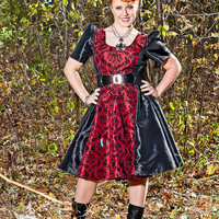 Retro Punk Dress Bridesmaid Goth Red and Black  Damask - Custom to your Size