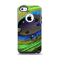 The Watered Neon Peacock Feather Apple iPhone 5c Otterbox Commuter Case Skin Set