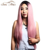 Suri Hair Ombre Pink Straight Wigs Long Dark Root Heat Resistant Synthetic Cosplay Wig For Women 30 inch Fake Hair