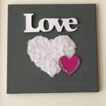 Gray Love Heart Canvas Wall Decor 10x10 - Modern Nursery Decor Girl Room - Valentine Wall Art Wall Decor Heart - READY TO SHIP