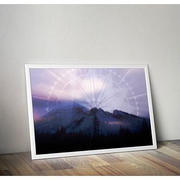 Reiki Charged Mandala Mountain Dark Blue Poster Bohemian Art Print Poster  Design no frame 20x30 Large