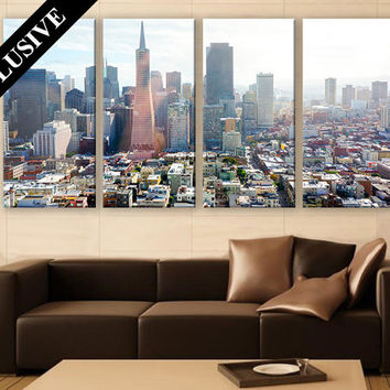 Superb Canvas Print LARGE Wall Art 3 Panel Art San Francisco Cityscape Print Large  Canvas Art
