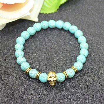 8mm Natural Turquoise Stone Beads Bracelet for Women,Antique Silver and Gold Lion/Buddha/Leopard/Skull Bracelets Mens Jewelry vintage gold skull