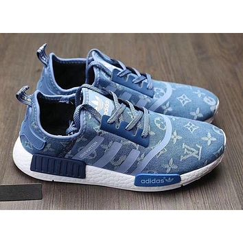 Adidas x Gucci x Louis Vuitton x Supreme NMD Trending Running Sports Shoes Sneakers F  Blue