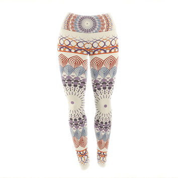 "Famenxt ""Vintage Mandala"" Yellow Multicolor Yoga Leggings"